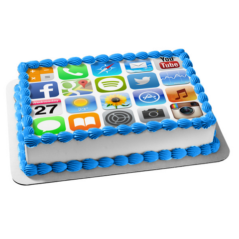 Iphone Screen Apps Youtube Twitter Calendar Edible Cake Topper Image ABPID05379