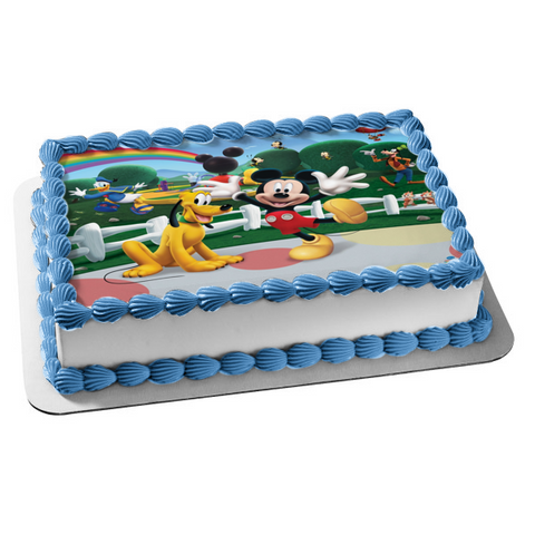 Mickey Mouse Pluto Goofy Donald Duck Edible Cake Topper Image ABPID05399