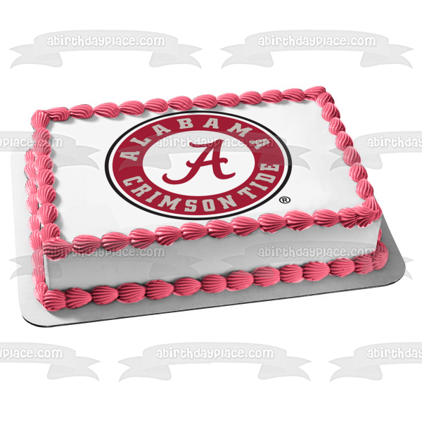 Alabama Crimson Tide Logo College Sports Edible Cake Topper Image ABPID05413