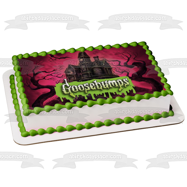 Goosebumps Bats Haunted Castle Scary Trees Pink Edible Cake Topper Image ABPID05429