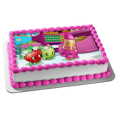 Shopkins Lippy Lips Apple Blossom Strawberry Kiss Edible Cake Topper Image ABPID05481