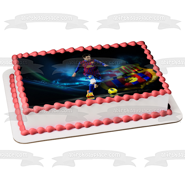 Lionel Messei Barcelona Football Soccer Edible Cake Topper Image ABPID05544