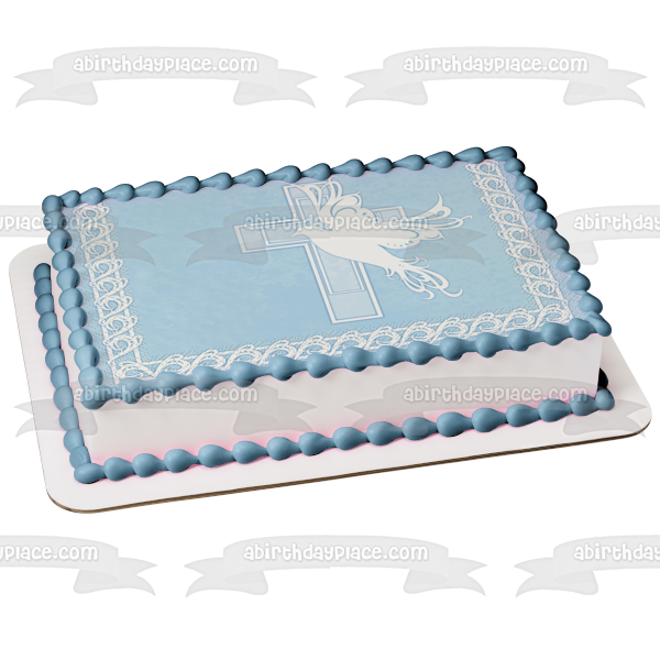 Boy Baptism White Dove Edible Cake Topper Image ABPID05555