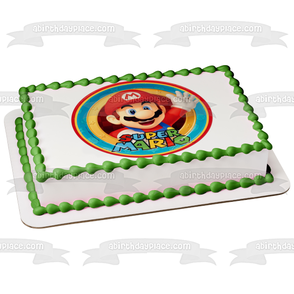 Super Mario Stars Background Edible Cake Topper Image ABPID05589