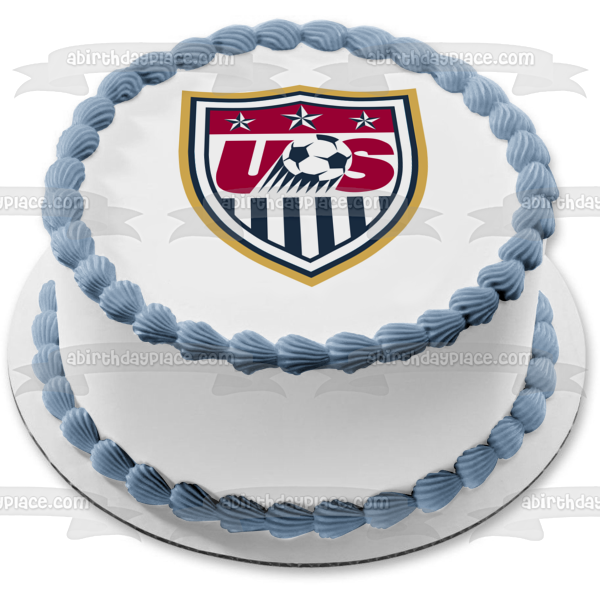 United States Soccer Logo Red White Blue Edible Cake Topper Image ABPID05632