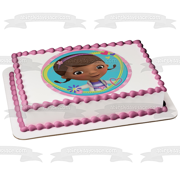 Doc McStuffins Hearts Flowers Stethoscope Edible Cake Topper Image ABPID05694