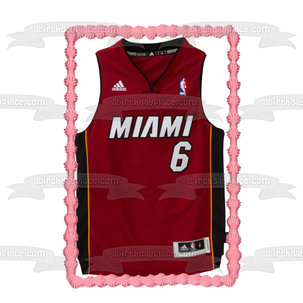 Miami Heat Jersey Lebron James NBA Edible Cake Topper Image ABPID05701