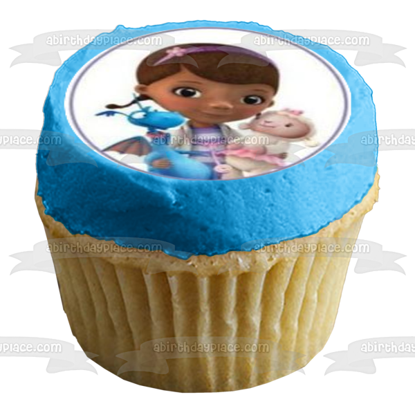 Doc McStuffins Lambie and Dragon Edible Cupcake Topper Images ABPID01234