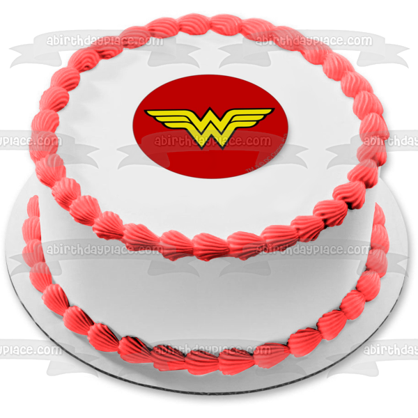 DC Comics Wonder Woman Logo Edible Cake Topper Image ABPID05784
