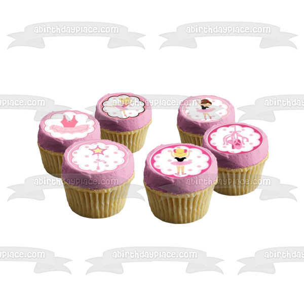 Ballerina Ballet Tutu Pink Slippers Edible Cupcake Topper Images ABPID04331