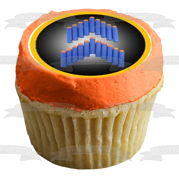 NERF Logo Happy Nerfday I Would Take a NERF Bullet for You Edible Cupcake Topper Images ABPID04613
