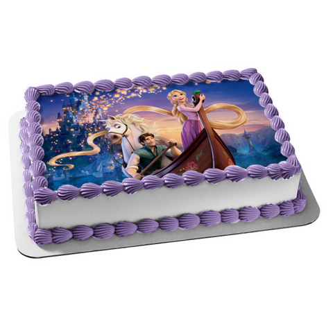 Disney Tangled Rapunzel Flynn Rider Maximus Castle Edible Cake Topper Image ABPID06152