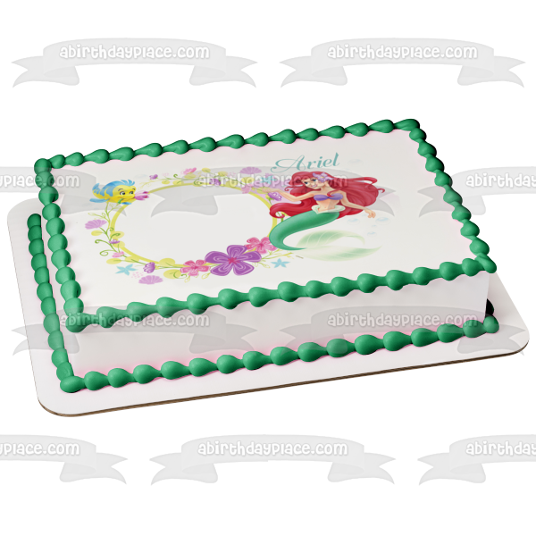 Disney Princess the Little Mermaid Ariel Flounder Edible Cake Topper Image ABPID06220