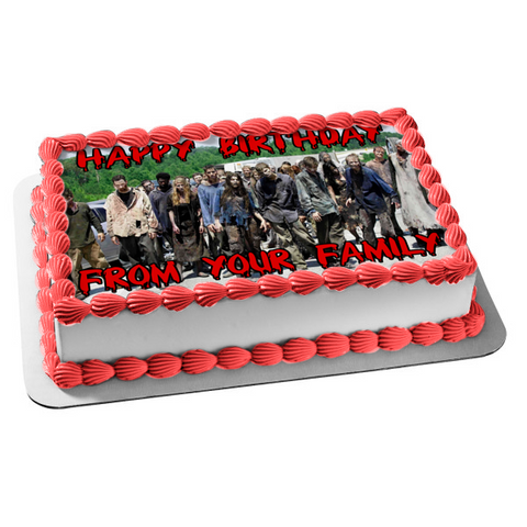 The Walking Dead Zombies Personalized Edible Cake Topper Image ABPID00084