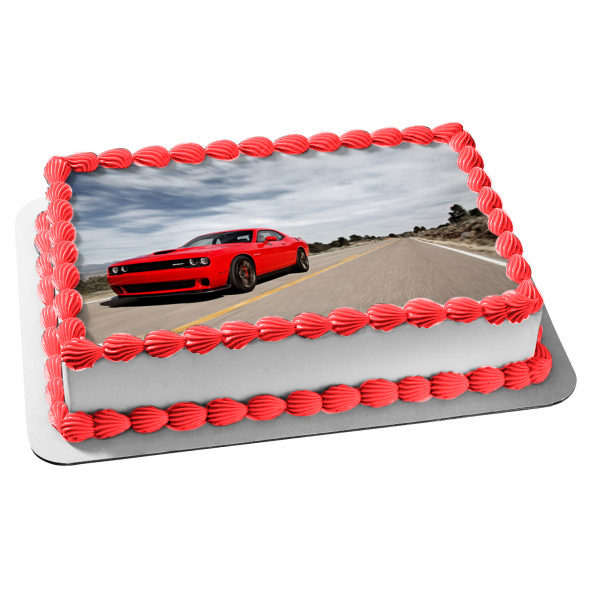 Dodge Challenger Muscle Car Open Road Edible Cake Topper Image ABPID04292