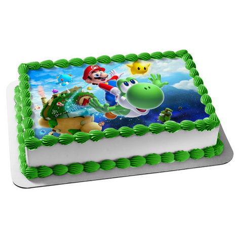 Super Mario Brothers Yoshi Star Edible Cake Topper Image ABPID05758