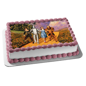 Wizard of Oz Scarecrow Tin Man Dorothy Cowardly Lion Poppy Fields Edible Cake Topper Image ABPID05074