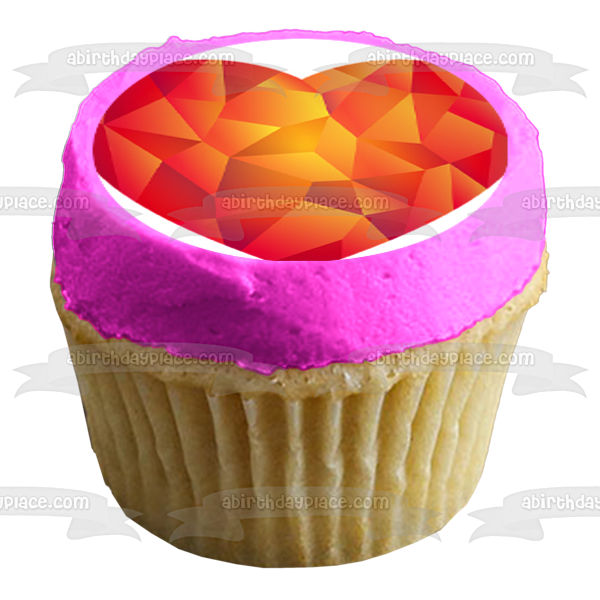 Crystal Hearts Colorful Variety Purple Blue Red Silver Green Yellow Edible Cupcake Topper Images ABPID50841