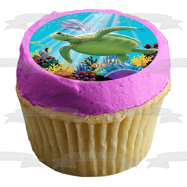 12 x Under The Sea Turtle 9 Cake Toppers Edible Pre-Cut
