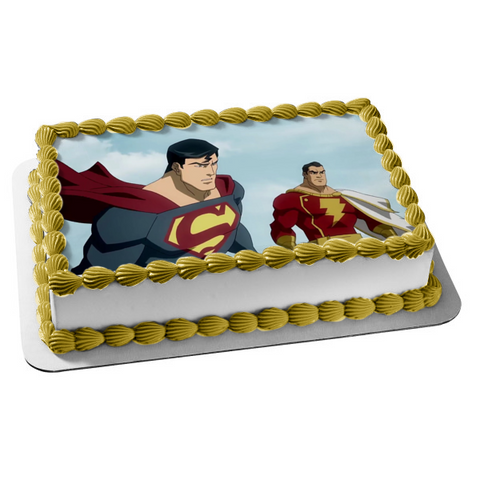 DC Comics Superman and Shazam Edible Cake Topper Image ABPID00425