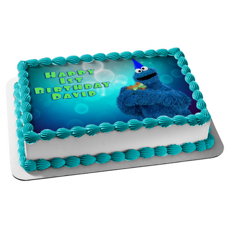 Sesame Street Cookie Monster Cookie Edible Cake Topper Image ABPID03544