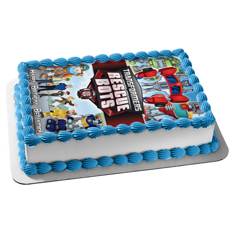 Transformers Rescue Bots Optimus Prime Boulder Blades Quickshadow Chase Edible Cake Topper Image ABPID05023