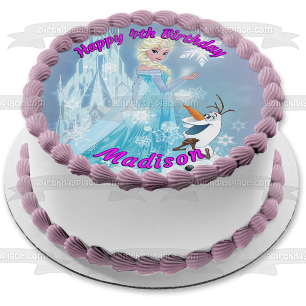 Disney Frozen Elsa Olaf Ice Castle Edible Cake Topper Image ABPID04360