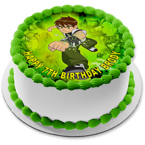 Ben 10 Alien Madness Ben Tennyson Green Background Edible Cake Topper Image ABPID15217