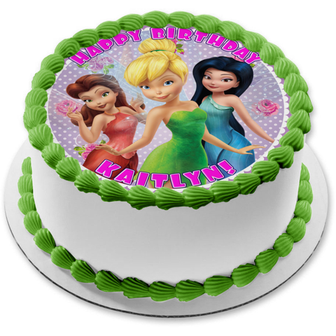 Disney Tinkerbell Fairies Silvermist Fawn Purple and White Polka Dot Background Edible Cake Topper Image ABPID21834