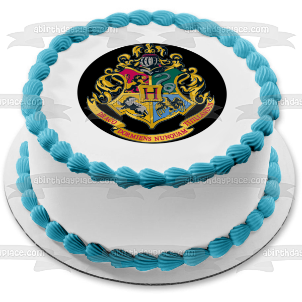 Harry Potter Hogwarts Crest Lion Snake Eagle Wolf Edible Cake Topper Image ABPID03283