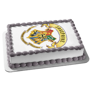 Classic Harry Potter Hogwarts Crest Customizable Wizard Magic Edible Cake Topper Image ABPID53591