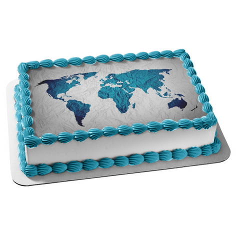 Textured Real World Map Edible Cake Topper Image ABPID53634
