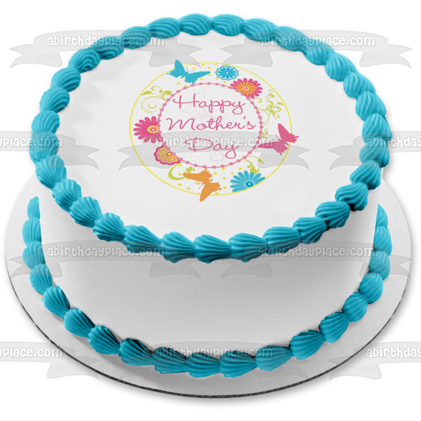 Happy Mother's Day Butterfly Flowers Edible Cake Topper Image ABPID01635