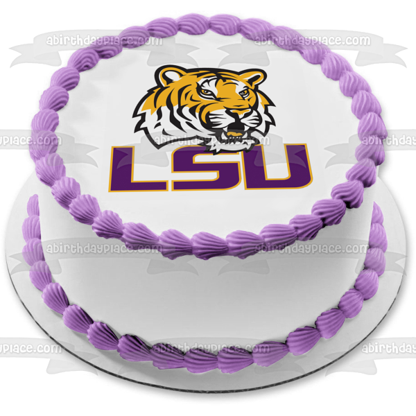 Louisiana State University Tigers Logo Edible Cake Topper Image ABPID03183