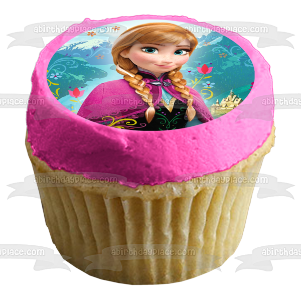 Disney Frozen Anna Castle Mountains Flowers Edible Cake Topper Image ABPID05227