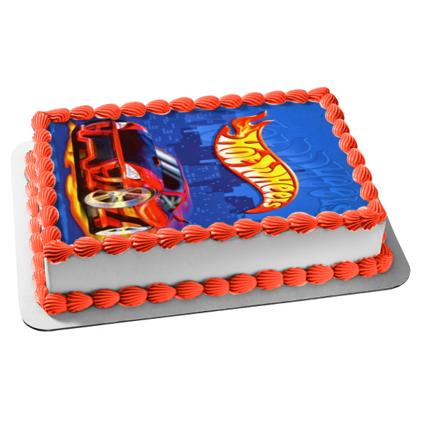 Hot Wheels Logo Red Sports Car Blue Background Edible Cake Topper Image ABPID49840