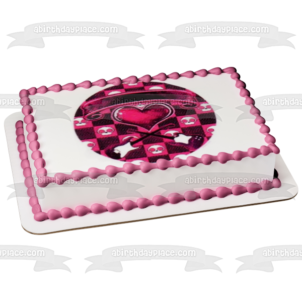Pink Rockin Hottie Logo Skulls Hearty Guitars Edible Cake Topper Image ABPID49866
