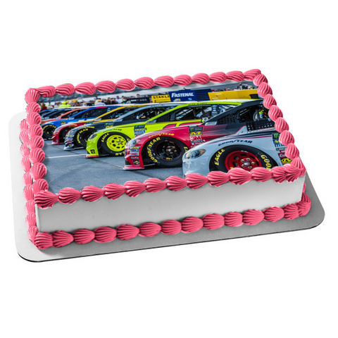 Nascar Various Race Cars Edible Cake Topper Image ABPID49896