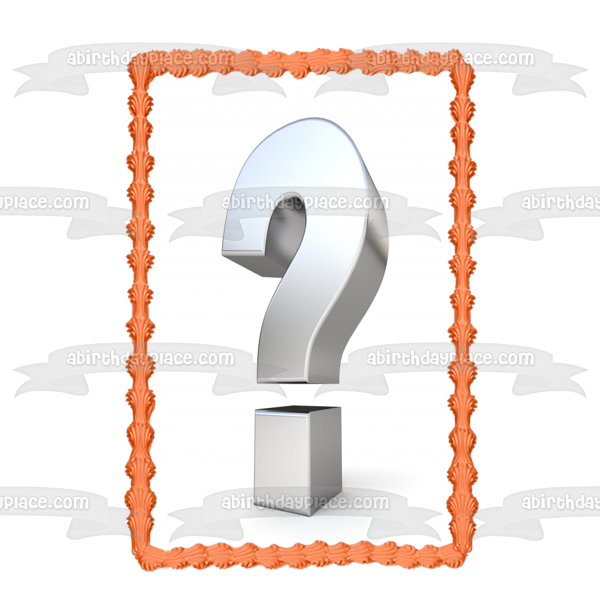 Question Mark Silver Edible Cake Topper Image ABPID49897