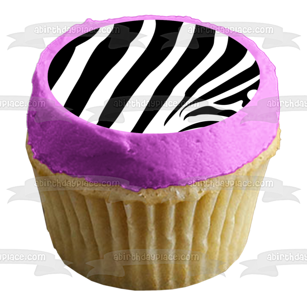Zebra Stripes Pattern Black White Custom Colors Edible Cake Topper Image ABPID04078