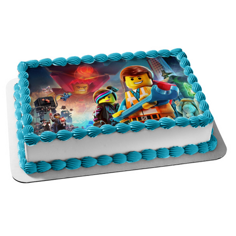 LEGO Movie Emmet Wyldstyle Batman Edible Cake Topper Image ABPID06381