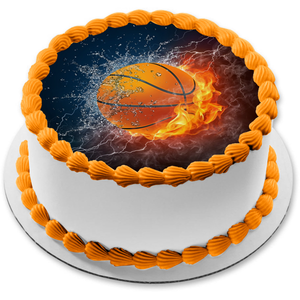 Basketball Fire Ice Water Lightning Smoke Edible Cake Topper Image ABPID04569