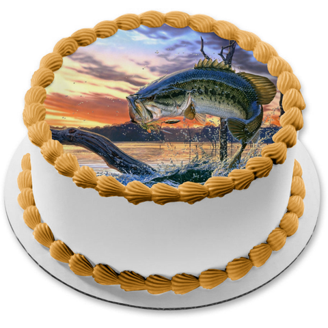 Bass Fishing Fish Out of Water Sunset Edible Cake Topper Image ABPID04589