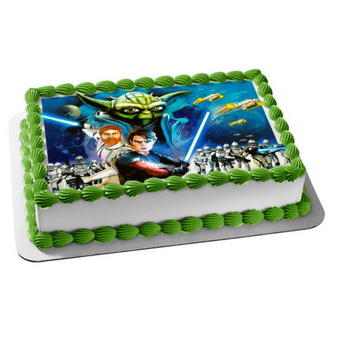 Star Wars: The Clone Wars Anakin Skywalker Yoda Storm Troopers Obi-Wan Kenobi Edible Cake Topper Image ABPID06566