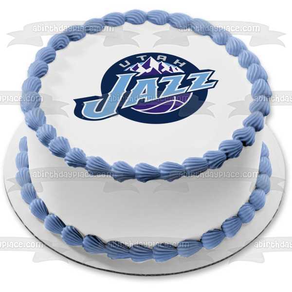 Utah Jazz Vintage Logo NBA Basketball Edible Cake Topper Image ABPID06617