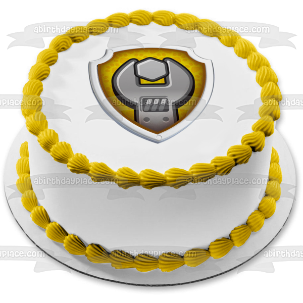 Paw Patrol Rubble Badge Edible Cake Topper Image ABPID07062