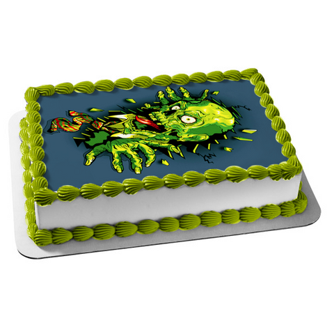Zombie Cartoon Breaking Out of Wall Edible Cake Topper Image ABPID06784