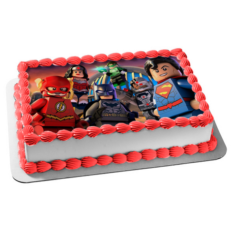 LEGO DC Comics Movie Action Figures Wonder Woman the Flash Superman Edible Cake Topper Image ABPID06834