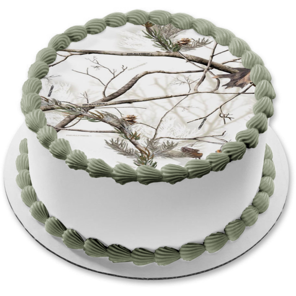 Snow Covered Trees and Leaves Camo Edible Cake Topper Image ABPID07280