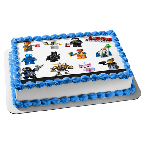 The LEGO Movie Batman Wyldstyle Emmet President Business Edible Cake Topper Image ABPID06856